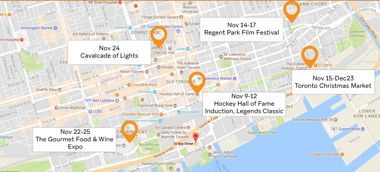 Toronto Map October and November