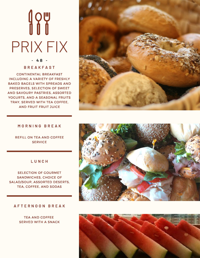Rostie Group Prix Fix Catering Page